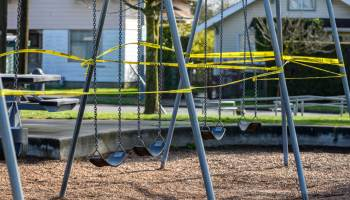South Seattle swing set closed off with caution tape to prevent spread of COVID-19, March 29, 2020. (photo: Sharon Ho Chang)