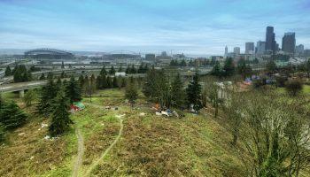 A drone's eye view of an encampment south of Seattle.