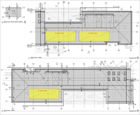 Photo depicting architectural schematic of the roof for Highline High School's new building.