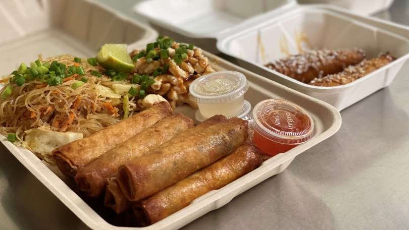 Photo of the L-Dub plate, which includes 7 pieces of lumpia, island mac salad, and vegetable pancit.