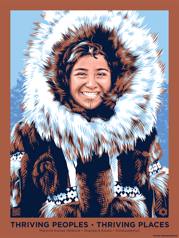 Art depicting Marjorie Kunaq Tahbone in Inupiaq and Kiowa nation clothing (fur-lined and hooded clothing) against a blue and brown background.