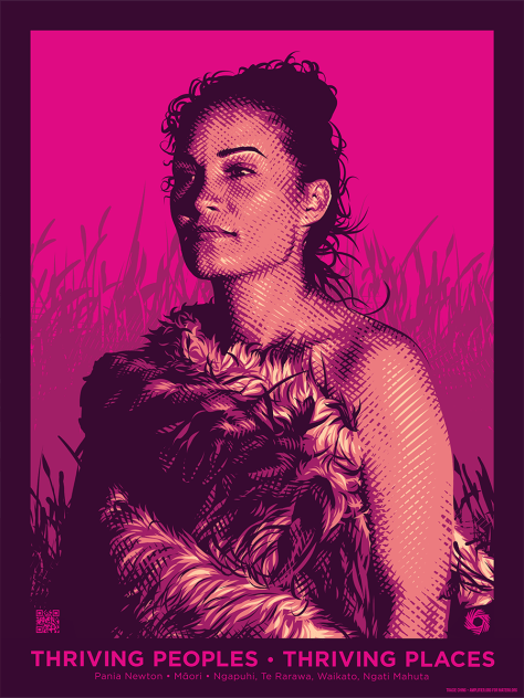 Art depicting Pania Newton in traditional clothing against a bright pink background.