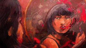 Illustration of an Asian woman looking into a mirror holding a red lipstick. The lipstick from her lips is flying away in small waves and flowing up around her head. illustration by Taylor Yingshi