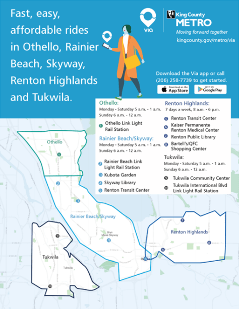 Flyer depicting Via to Transit's South Seattle service areas, community hubs, and hours. Photo courtesy of King County Metro.