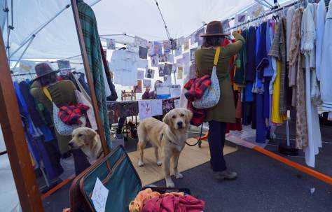 Photo depicting a Golden Retriever dog waiting patiently while its owner shops a clothing rack at an outdoor flea market.