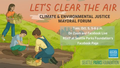 """Flyer advertising the """"Let's Clear the Air!"""" Climate and Environmental Justice Mayoral Forum."""