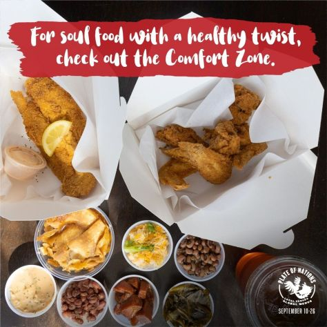Promotional image for Plate of Nations depicting menu items from the Comfort Zone.