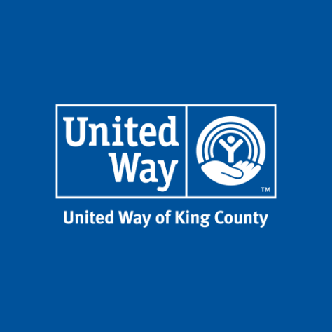 Image depicting the logo for the United Way of King County against a blue background.