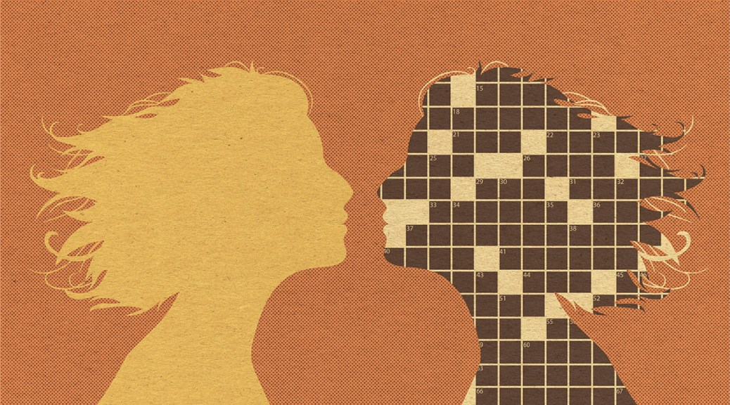 Illustration depicting two female-presenting silhouettes against an orange background. One silhouette is yellow while the other is a brown and white crossword puzzle.