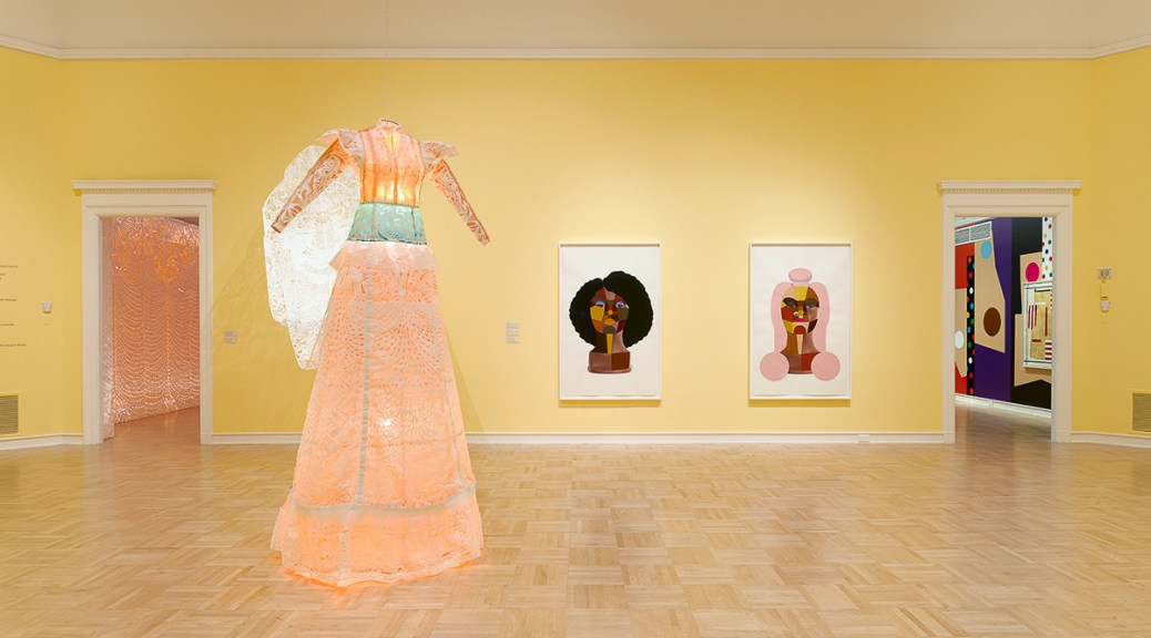 "Installation view of ""Packaged Black: Derrick Adams and Barbara Earl Thomas,"" 2021, Henry Art Gallery, University of Washington, Seattle."