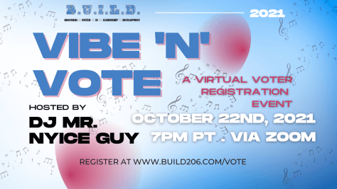 Flyer advertising the Vibe 'n' Vote virtual voter registration event.