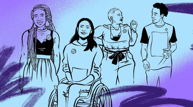 Illustration depicting various black-outlined individuals grouped together on a blue-purple gradient.