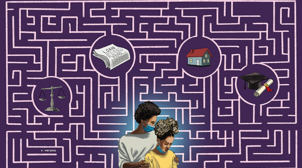 Illustration depicting a maze on a purple background with a symbol of justice, loan paperwork, a house, cap and diploma within the center of certain parts of the maze. A Black-presenting mother and daughter with blue surgical face masks look down disheartened.