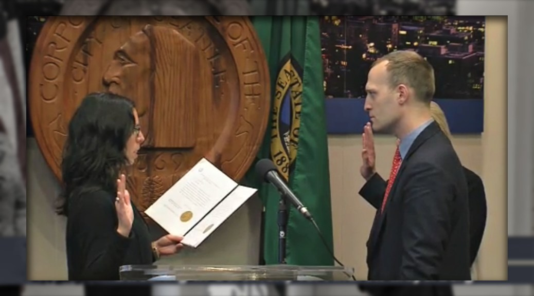 Andrew Myerberg is sworn in as director of the Office of Police Accountability, November 21, 2017, at City Hall (photo via City of Seattle)