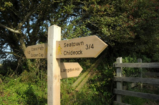 Signpost for Golden Cap on Dorset coastal path