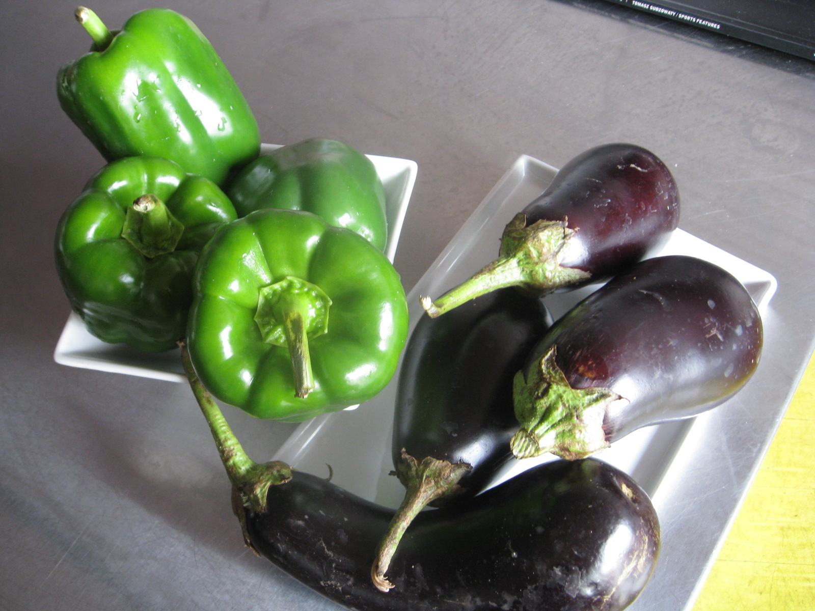 egg plant and peppers