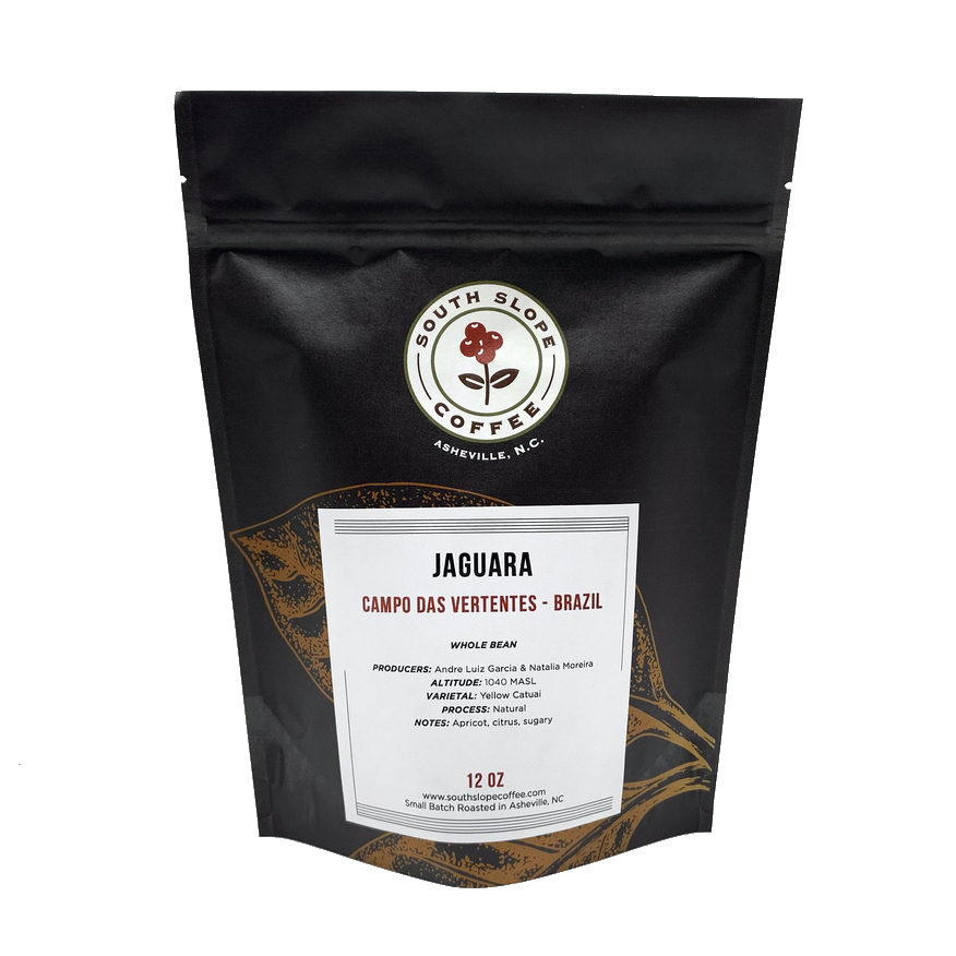12 ounce bag of coffee roasted by south slope coffee in asheville north carolina from a farm in brazil called Jaguara