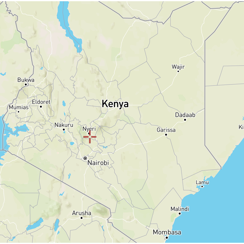 map showing location of the washing station in Kenya Nyeri Region