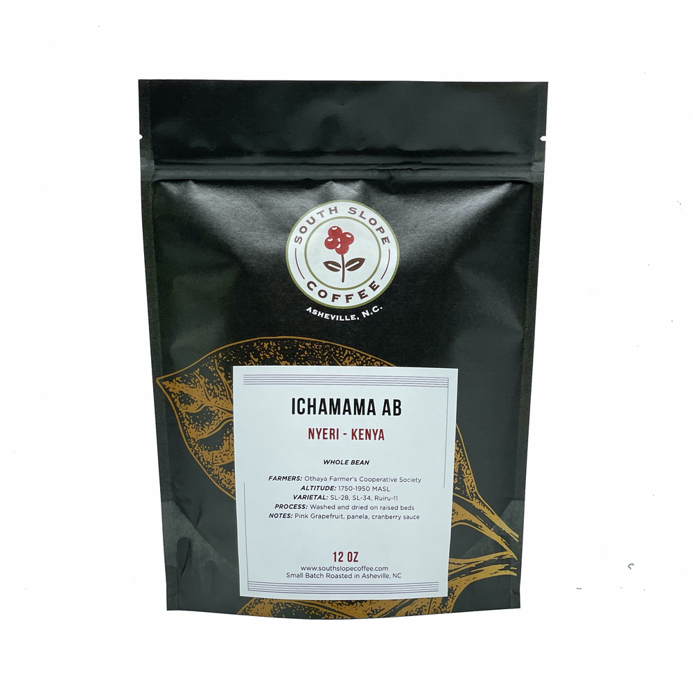 12 ounce bag of roasted coffee by south slope coffee ichamama ab from nyeri kenya