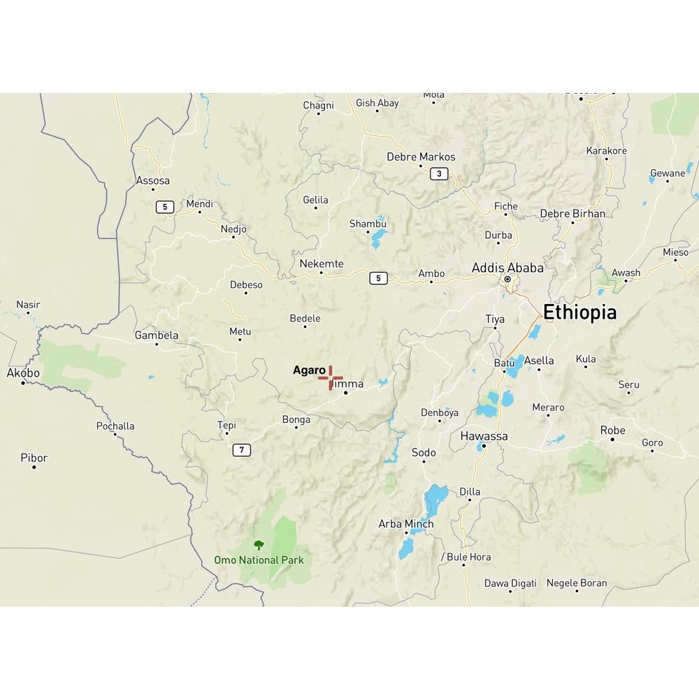 Map of location of agaro in ethiopia
