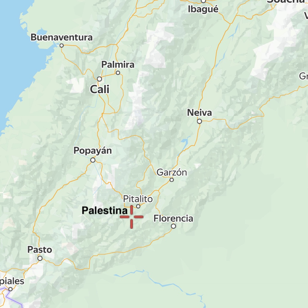 Map of location of Palestina in Huila Colombia