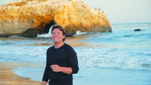 tenor pasquale esposito on beach in santa cruz, ca photo by Deanna Graham