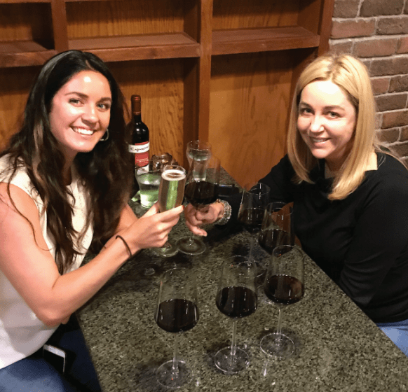 Celebratory libations at Bella Viva