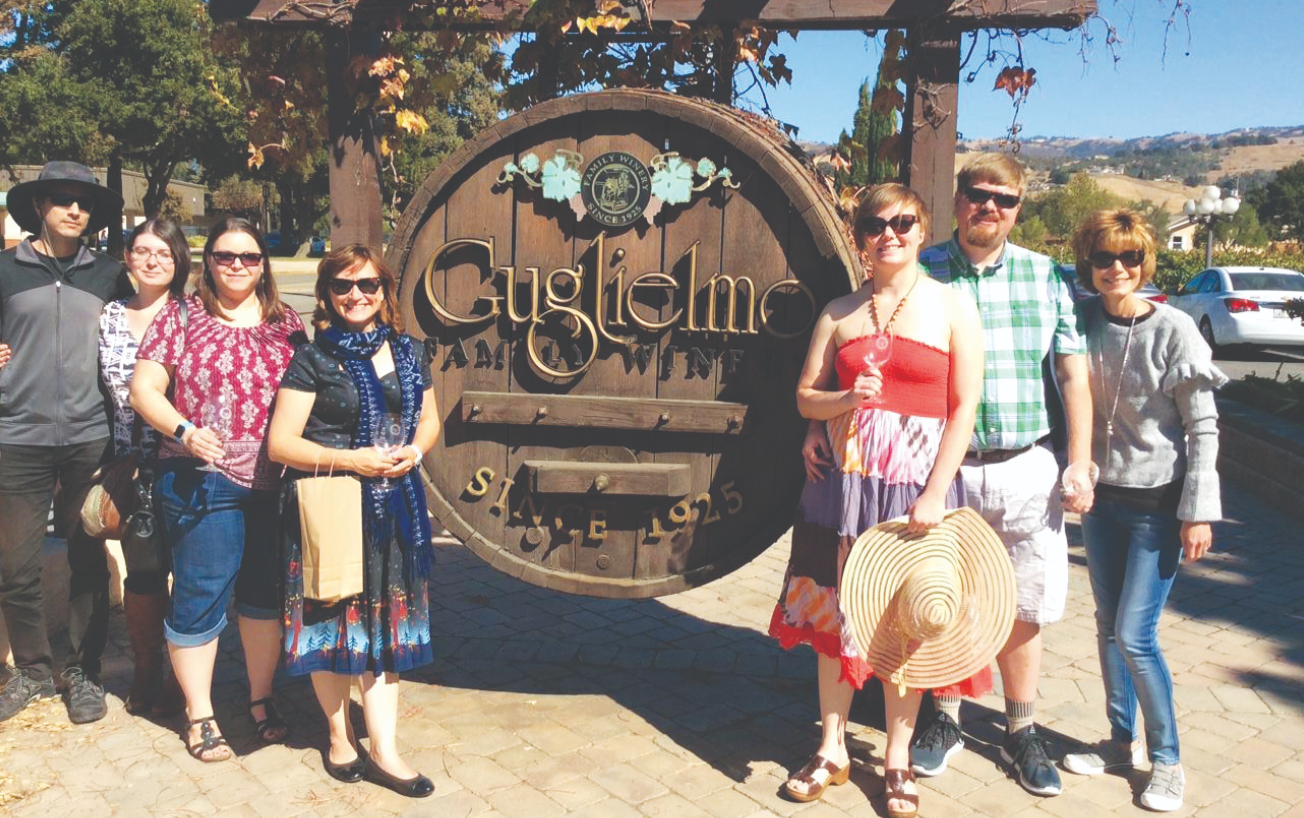 Friends gather for winery tours with California Passport Tours.