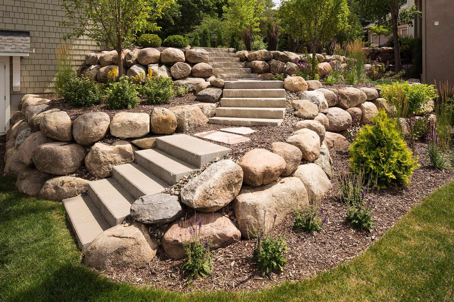 Stone Brick And Concrete Landscaping Steps Stairs Southview | Front Yard Stairs Design | Entry | Uphill | Step | Residential | Main Door Stair