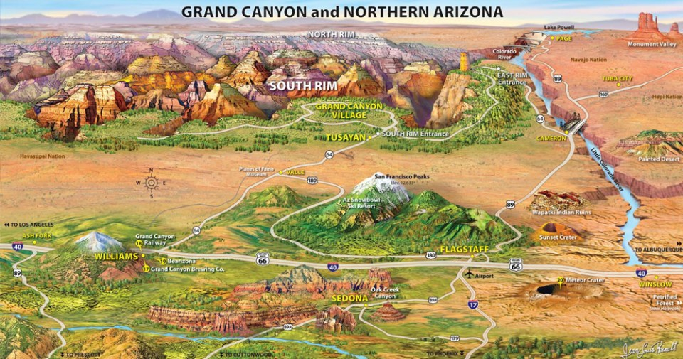 Grand Canyon Bus Tours Map