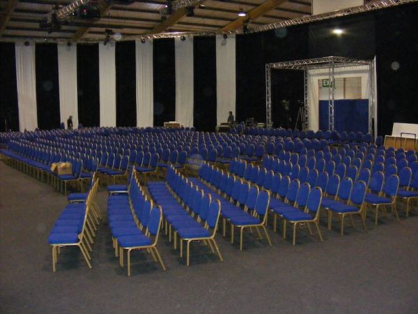 blue chairs ready for the guests