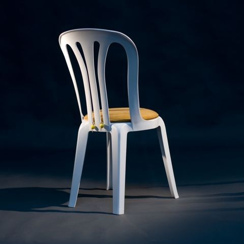 White Miami Chair with Gold Round Seat Pad 2