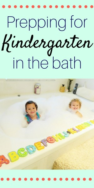 Prepping for Kindergarten in the bath