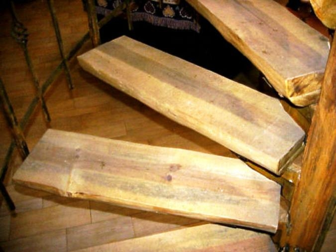 S W Wood Stairs Pine Slabs Spiral Wood Stairs Hand Peeled Raing | Stairs Made Of Wood | Pine | Staircase | Wood Plank | Hanging | Custom Made