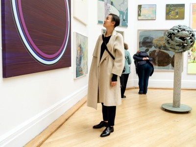 Person looking at modern art