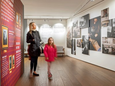 Woman and child standing on gallery