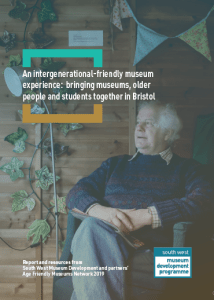 The front page of the Age Friendly booklet is an image of an older man sat in a chair with the publication title across the top