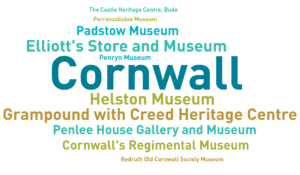 An infographic showing museums who have contributed to the Annual Museums Survey in Cornwall