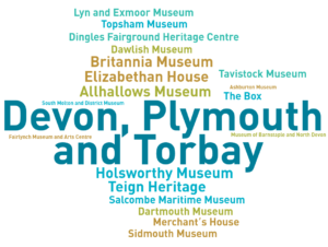 An infographic showing museums who have contributed to the Annual Museums Survey in Devon, Plymouth and Torbay