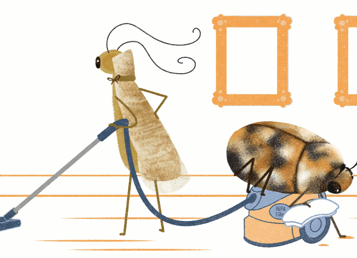 An animation of a beetle and moth cleaning a museum