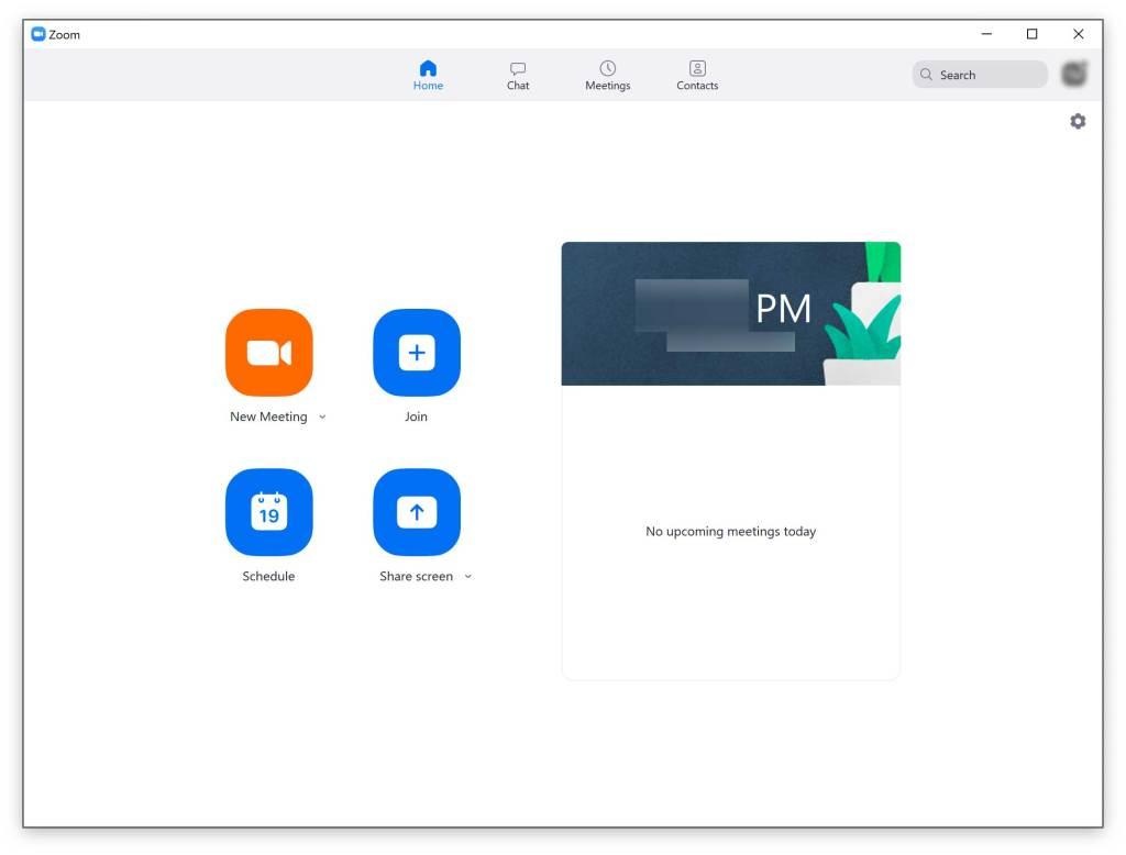Zoom app home screen