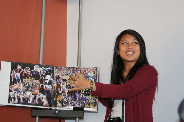 "Key Club Historian Jessa Bermudez shows the Key Club scrapbook during the workshop for possible Key Club Historians. ""I hope what I told those who are interested in running for Historian stayed alert to the responsibilities this job requires,"" Bermudez said.  Photo Credit: Migi Contreras"