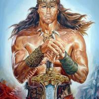 """Arnold Schwarzenegger, """"Conan The Destroyer"""" 1984 - Giant original painting portrait, plastic colors, 120x150cm canvas"""