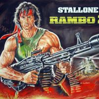"""Sylvester Stallone """"Rambo 2"""" 1985 - Original Painting Giant-Poster plastic & acrylic paints, 110x140cm canvas"""