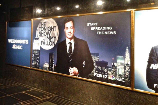 Tonight Show Starring Jimmy Fallon billboard in 30 rockefeller center