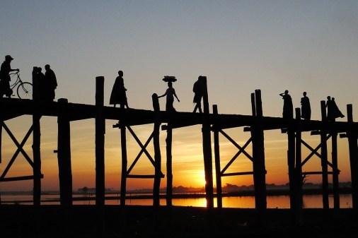 bein bridge at sunset myanmar burma