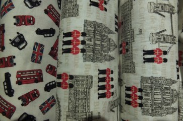 liberty art print fabricbuckingham palace double decker buses union jack british flag