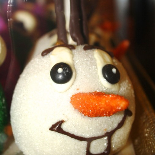 snowman olaf apple caramel white chocolate
