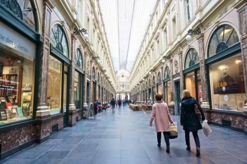 Brussels Belgium city galerie st hubert shoppers