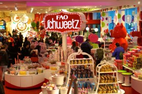 FAO Schwartz NYC toys kids candy overview sign